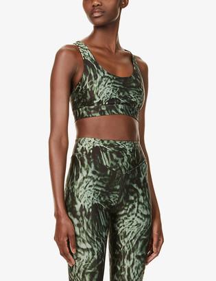 Good American Wild Night graphic-print stretch-jersey sports bra