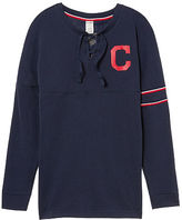 PINK Cleveland Indians Bling Lace-up Varsity Crew