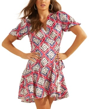 GUESS Candy Printed Faux-Wrap Dress
