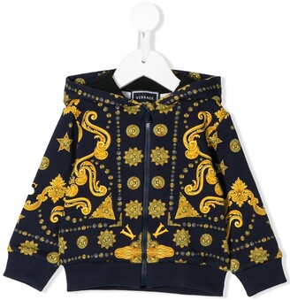 Versace all-over logo print zipped hoodie