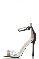 Quiz Silver And Black Metallic Barely There Heels