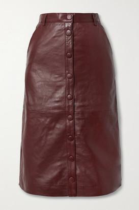 REMAIN Birger Christensen Bellis Leather Midi Skirt - Burgundy