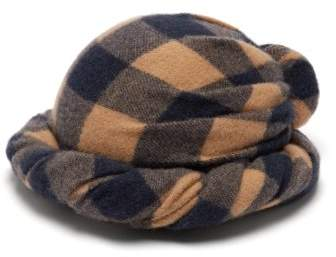 Gucci Checked Wool Turban Hat - Womens - Brown