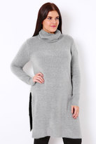 Yours Clothing Grey Marl Boucle Longline Jumper With Side Slits & Cowl Neck