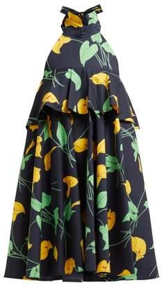 La DoubleJ Bonbon Trapeze Calla Lilly Print Cotton Midi Dress - Womens - Black Print