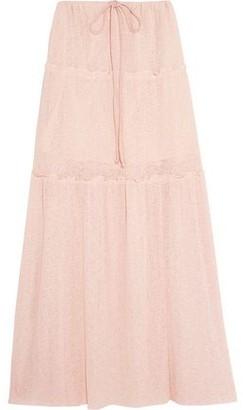 See by Chloe Gathered Ribbed-knit Maxi Skirt