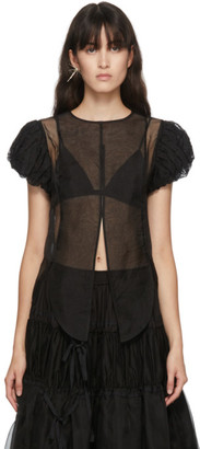 Renli Su Black Silk Ruffle Sleeve Shirt