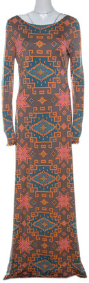 Matthew Williamson Multicolor Block Printed Silk Jersey Dress M