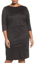 Tahari Plus Size Women's Flocked Dot Shift Dress