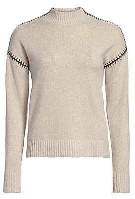 Minnie Rose Women's Cashmere-Blend Whip Stitch Turtleneck Sweater