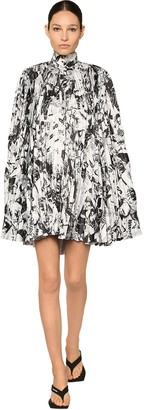 Balenciaga Pleated Print Satin Cape Mini Dress