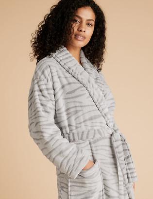 Marks and Spencer Fleece Zebra Texture Long Dressing Gown