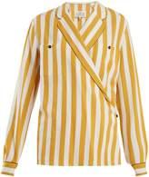 Maison Margiela Patch-pocket striped crossover shirt