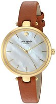 Kate Spade Women's 'Holland' Quartz Stainless Steel and Leather Automatic Watch, Color:Brown (Model: KSW1156)