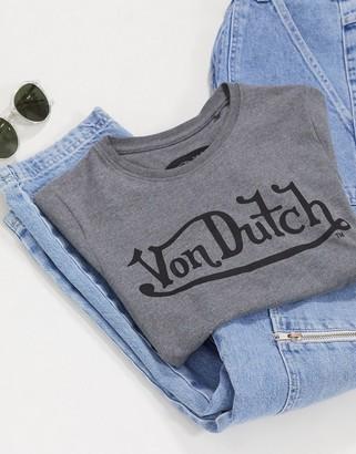 Von Dutch logo t-shirt in salt n pepper