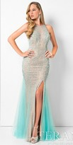 Terani Couture Lace Pearl Beaded High Slit Prom Dress