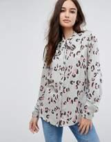 Vila Leopard Print Bow Front Shirt