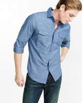 Express micro print herringbone shirt