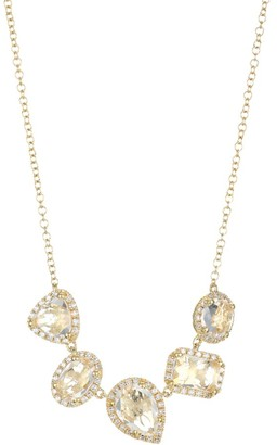 Ef Collection 14K Yellow Gold, Topaz & Diamond Multi-Cluster Necklace