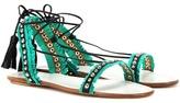 Aquazzura Careyes Embellished Leather And Suede Sandals