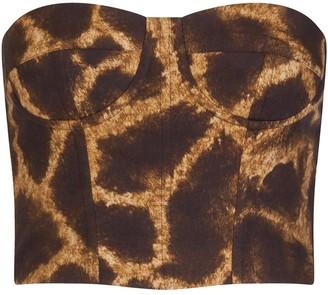 Dolce & Gabbana Giraffe Print Bustier Top