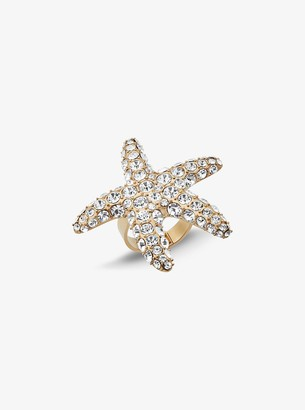 Michael Kors Gold-Tone Pave Starfish Ring