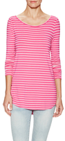 Calypso St. Barth Striped Long Sleeve Top With Curved Hem