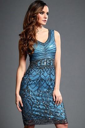 Jywal London Victoria Blue Embellished Mini Flapper Dress
