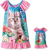 Komar Kids Big Girls Polyester Sleep Gown with Matching 18 Inch Doll Gown Cat