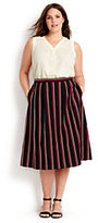 Classic Women's Plus Size Woven Midi Skirt-Bright Tomato Stripe