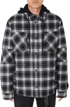 Off-White Checked Hooded Shirt Jacket