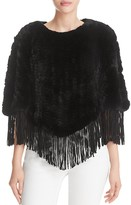 Surell Suede Fringe Rabbit Fur Cape