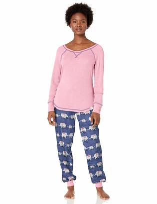 Munki Munki Women's Long Sleeve Tee and Jogger Pajama Set
