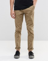 Pull&bear Slim Fit Chinos In Tan
