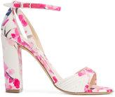 Monique Lhuillier floral print sandals - women - Cotton/Leather - 35