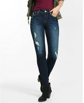 Express distressed mid rise super skinny jeans