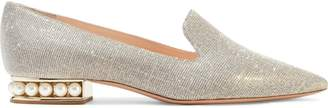 Nicholas Kirkwood Casati Faux Pearl-embellished Lurex Loafers