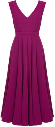 Undress Melina Deep Pink V Back & V Neck Flared Midi Dress