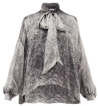 Balenciaga Tie-neck Acid Wash-print Satin Blouse - Womens - Grey