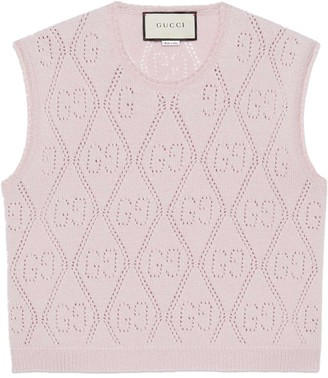 Gucci GG perforated knitted cropped vest