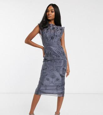 Asos Design DESIGN high neck sheer floral embroidered pencil midi dress-Grey