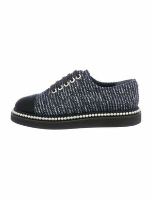 Chanel Faux Pearl Accents Tweed Pattern Sneakers Blue