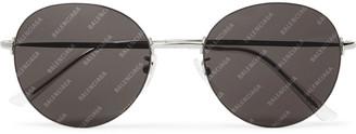 Balenciaga Round-Frame Silver-Tone Logo-Print Sunglasses