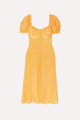 Rixo Tammy Ruffled Floral-print Silk-georgette Dress - Yellow