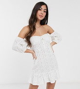 Asos DESIGN Petite broderie off the shoulder cupped mini dress with tiered hem in white