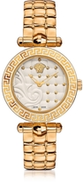 Versace Micro Vanitas PVD Gold Plated Women's Watch w/Baroque White Dial