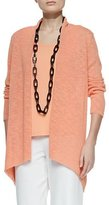 Eileen Fisher Melange Linen-Blend Cardigan, Papaya