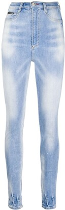 Philipp Plein Faded Embroidered Detail Jeans