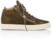 Giuseppe Zanotti Men's Leather Double-Zip Sneakers-DARK GREEN