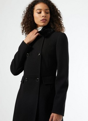 Dorothy Perkins Womens **Dp Tall Black Fur Collar Coat, Black